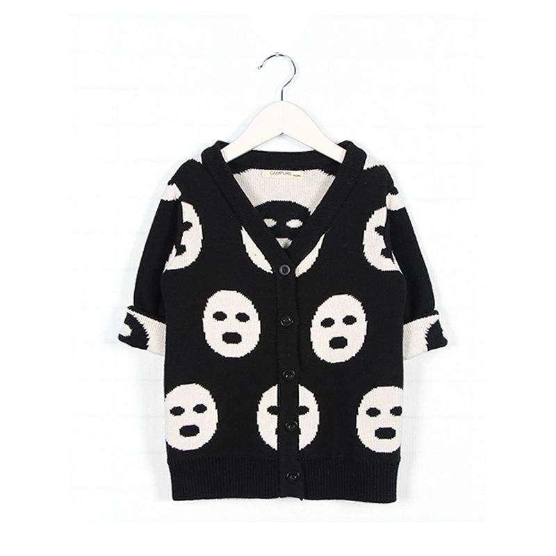 Masks Print Long Sleeves Baby Sweater Black and White Knitted Cardigan