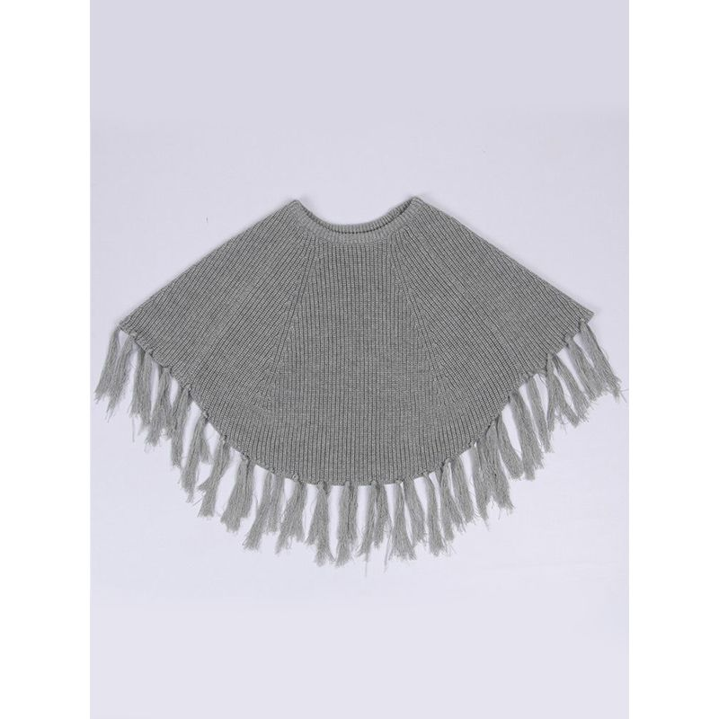 Cute Round Collar Tassels Tippet Sweater Knitted Cotton Toddler Little Girls Sweater