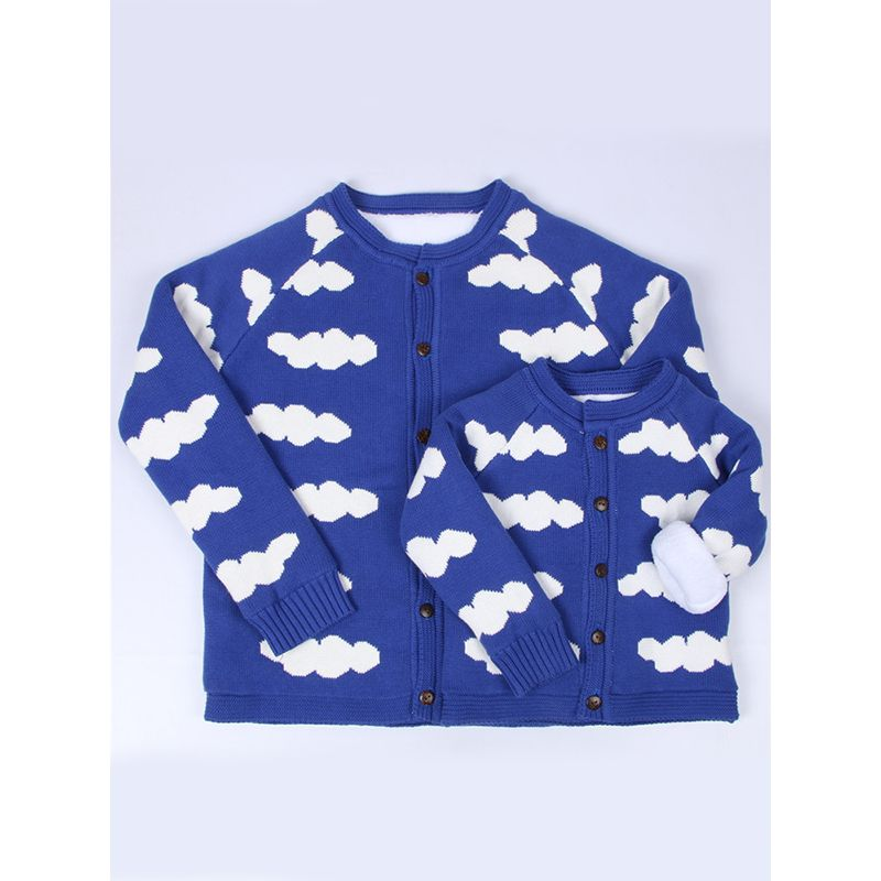 MOM AND ME Clouds Cotton Warm Cardigan Top for Baby Toddler Boys Girls Adults