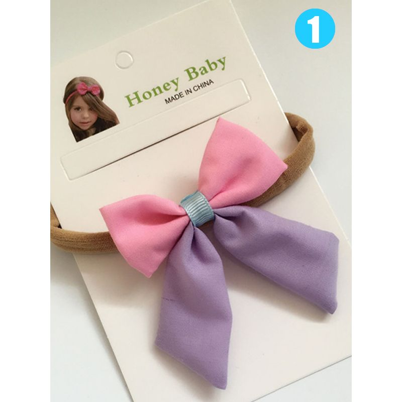 Color Block Paneled Bow-knot Headband Cotton CLoth for Baby Toddler Girls