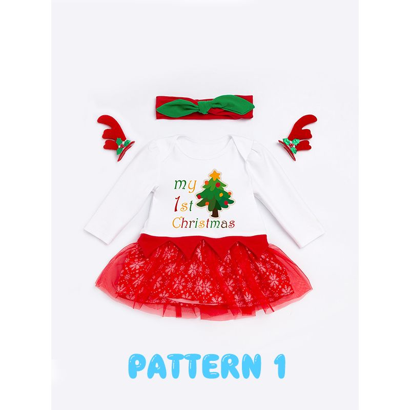 Christmas Snowflake/Tree Tulle Dress-like Romper Long-sleeve Headband for Baby Girls Holiday Wear