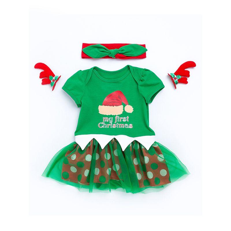 Christmas Green Tulle Dress-like Romper Short-sleeve for Baby Girls