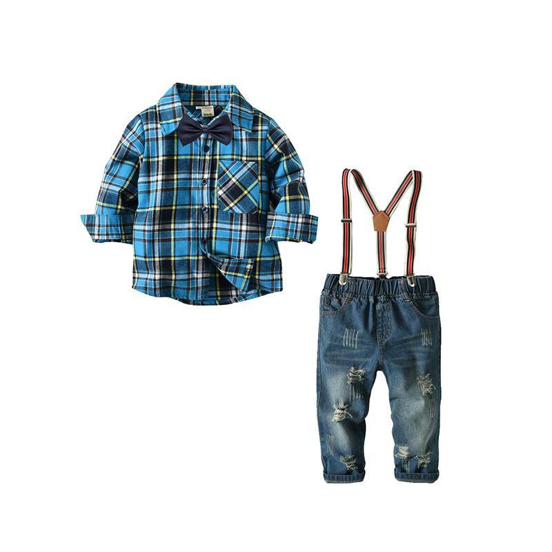 4-piece Deepblue Shirt Jeans Belt Bowtie Set Long-sleeve Top for Toddler Boys