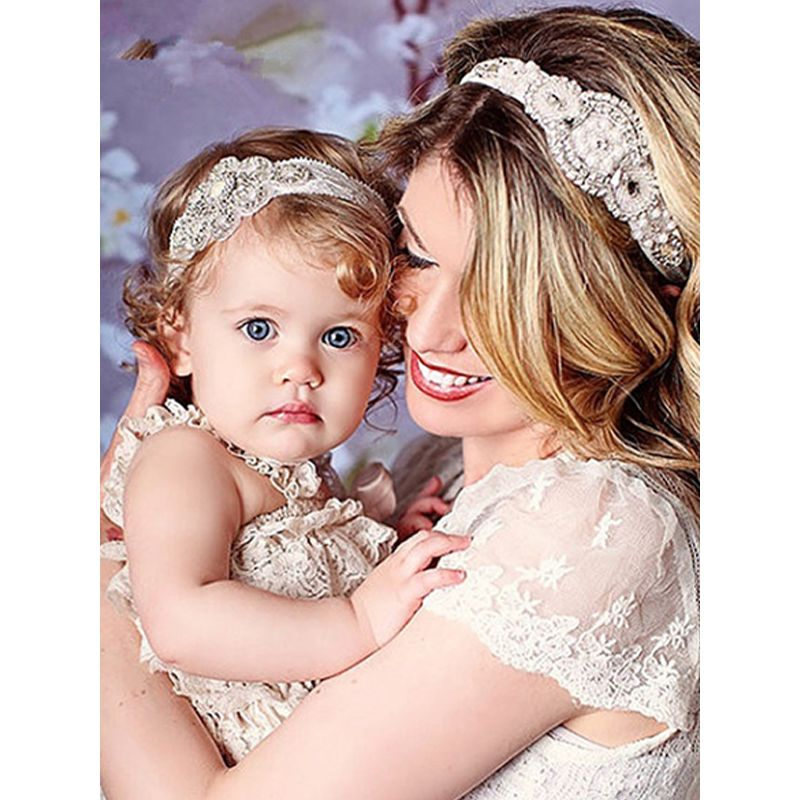MOMMY AND ME Beads-Studded Headbands Set