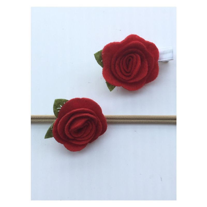 MOM AND ME 2-piece Rose Headband Clip Set for Baby Girls Adults