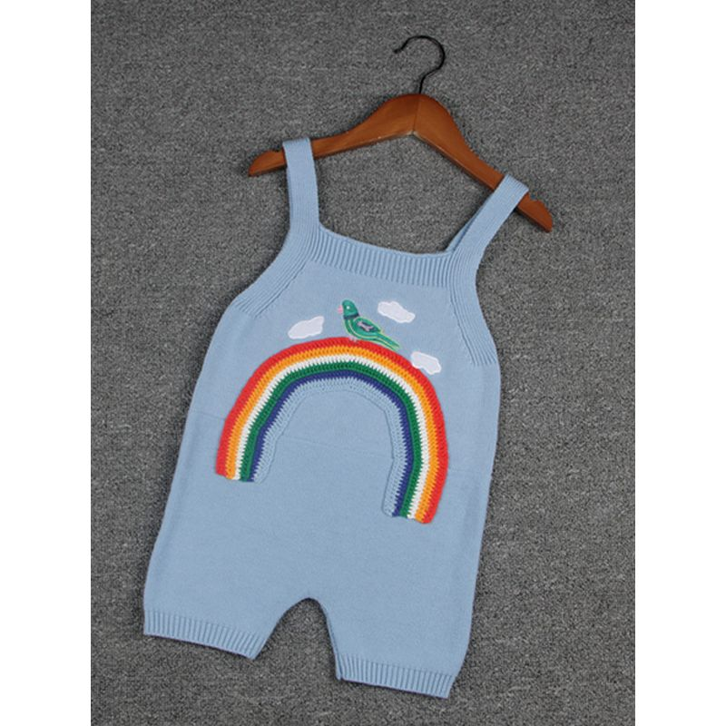 a6feea512a3 Cute Rainbow Bird Embroidery Cotton Baby Toddler Suspender Pants