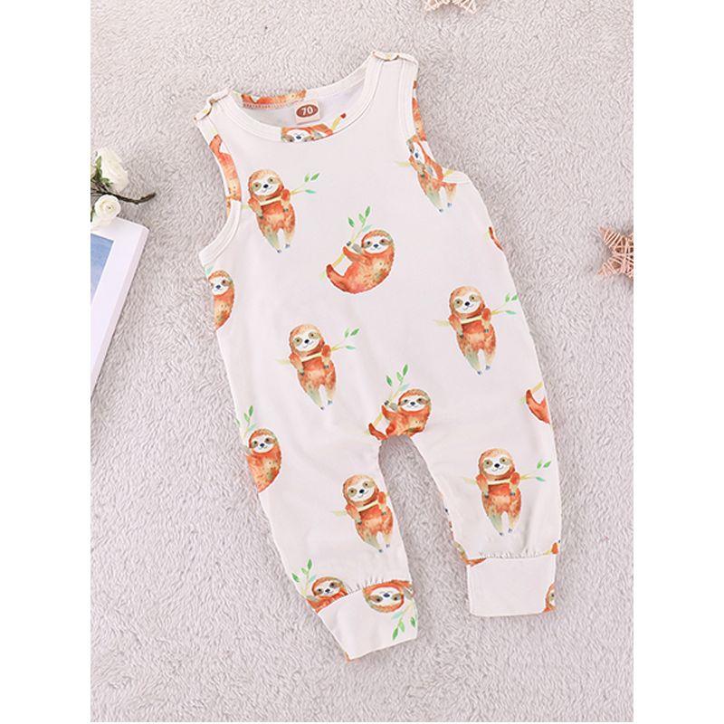 f1fd1401a99d Sloths Print Sleeveless Lycra Baby Romper Jumpsuit Onesies