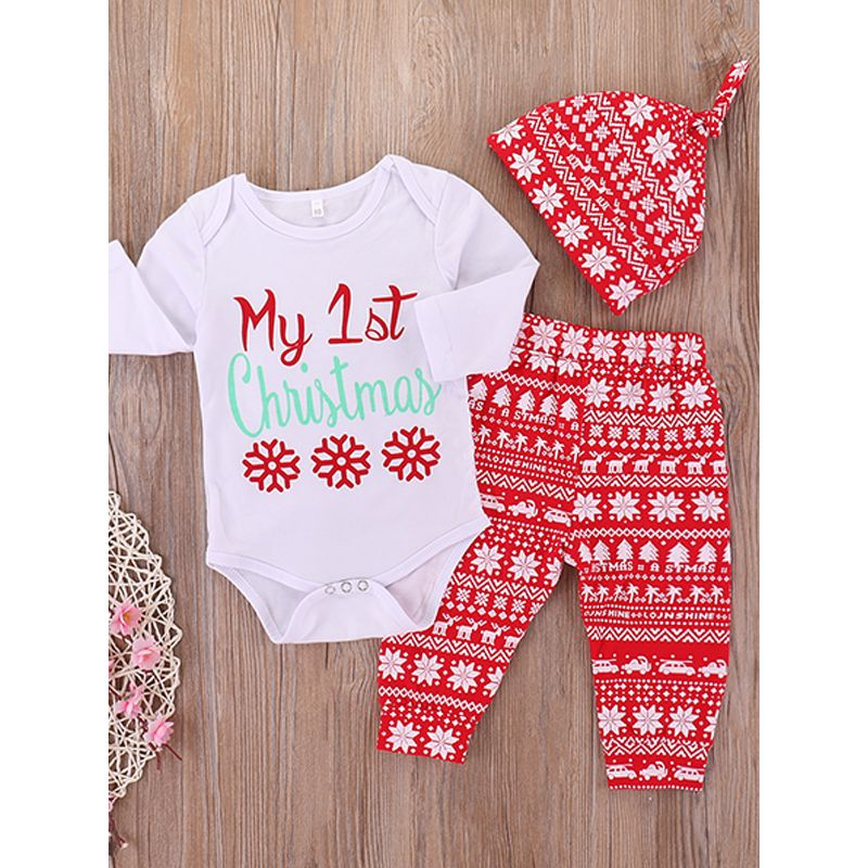 3-piece Christmas Trees Letters Snowflakes Hat Romper Pants Baby Set