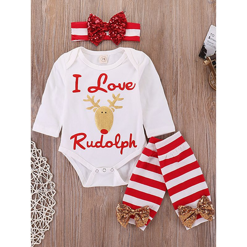 3-piece Christmas Headband Romper Leggings Baby Set
