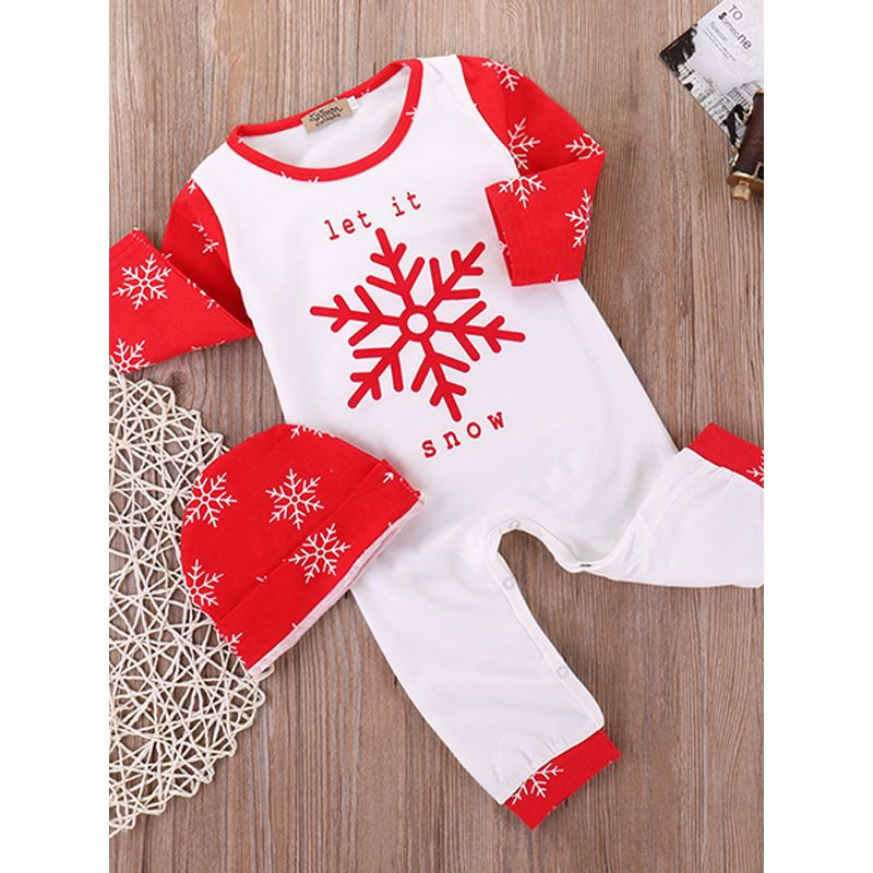 2-piece Christmas Snowflakes Pattern Hat Romper Baby Set