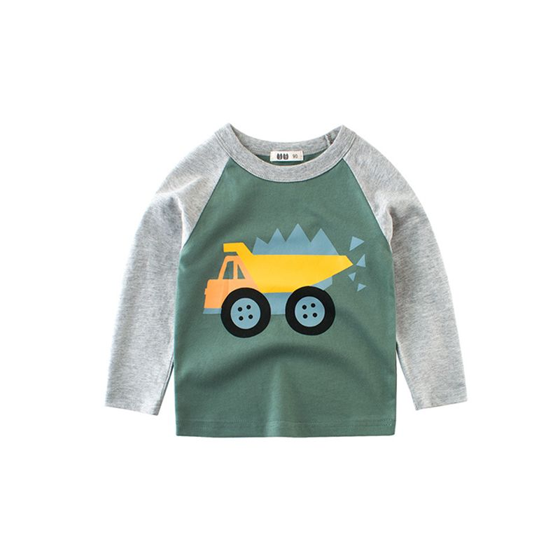 Color Block Cartoon Truck Cotton Top Tee Sports Long-sleeve for Toddlers Boys