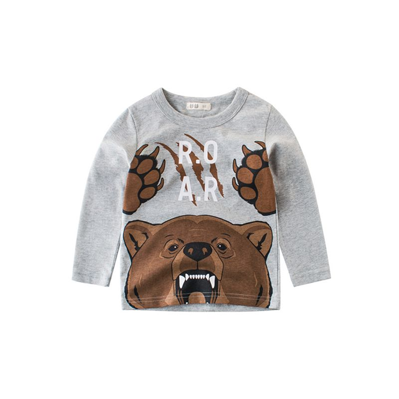 Cool Roar Bear Cotton Top Long-sleeve for Toddlers Boys