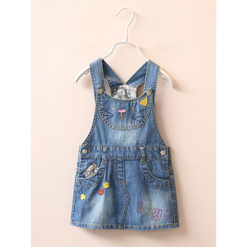 Cute Cat Embroidery Appliqued Toddler Girls Denim Suspender Skirt