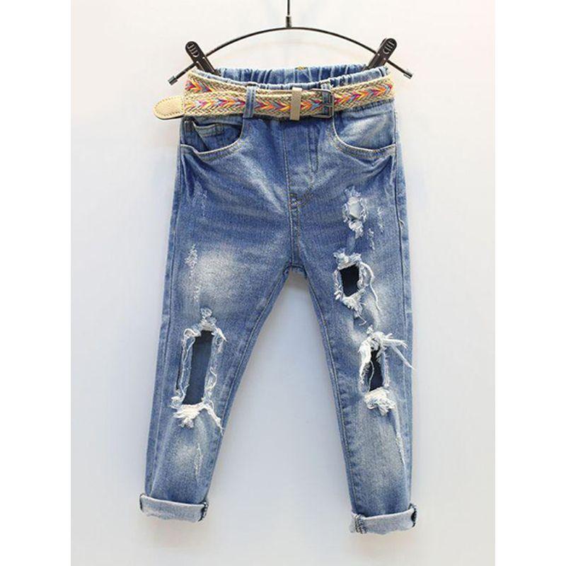 Big Broken Holes Light Blue Sanding Toddlers Kids Jeans Denim Pants