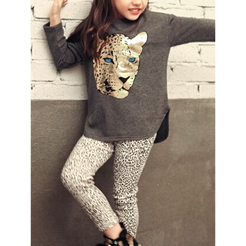b0aaa799a543 2-piece Leopard Print Tee Pants Set Long Sleeve Top Trousers for Toddlers  Girls