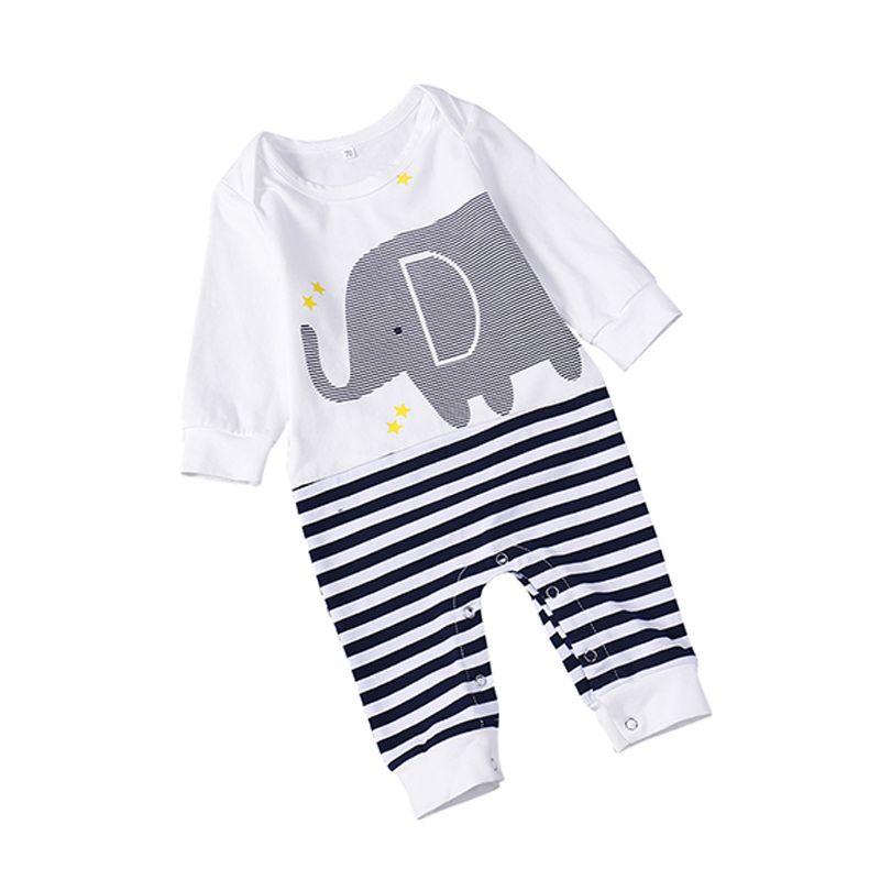 Cute Elephant Striped Romper Long-sleeve Jumpsuit Sleepsuit Pajamas for Baby Boys Girls