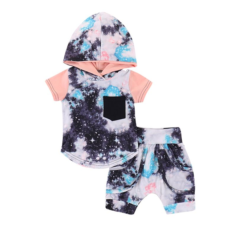 060a2a3d9c4 2-piece Universe Stars Print Hoodie Top Shorts Baby Toddler Set