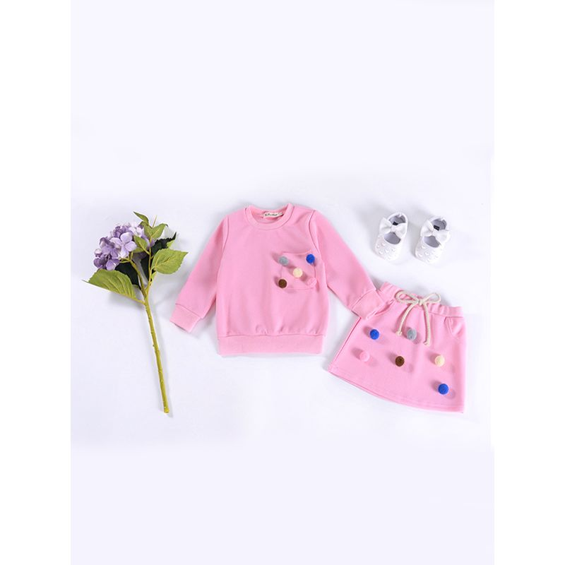 2-piece Colorful Balls Top Skirt Set Long sleeve Cotton Pullover Solid Color for Toddlers Girls