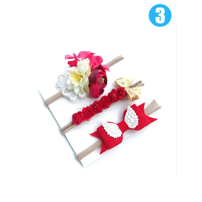 3-piece Bowknot/Wings/Flower/Beads Headband Set Hairband Accessories for Babies Toddlers Girls