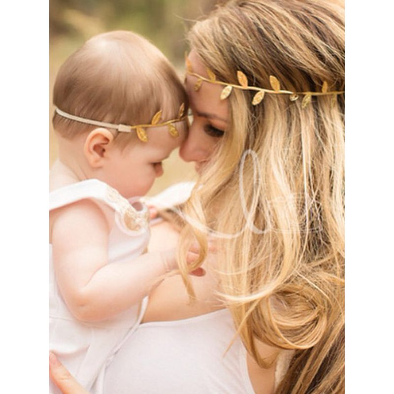 MOMMY AND ME 2-piece Leaves Headband Set Hairband Accessories for Babies Moms