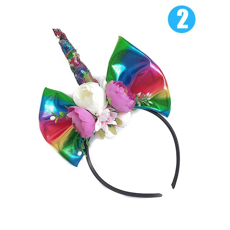 Wholesale Glitter Unicorn Horn Flowers-Bow Hairband