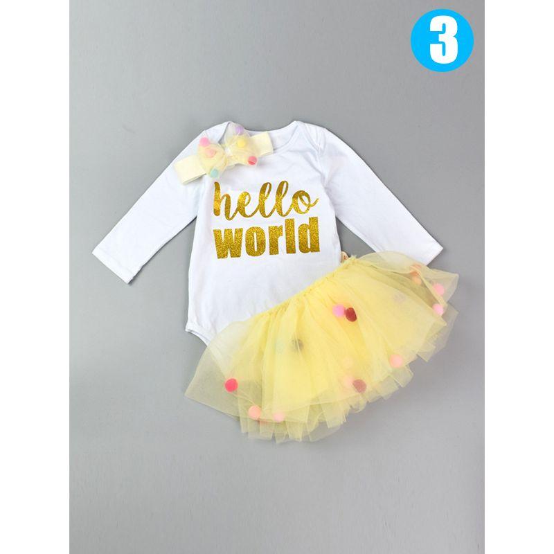3-piece Headband Romper Pettiskirt Baby Set Colorful Balls Tutu Skirt