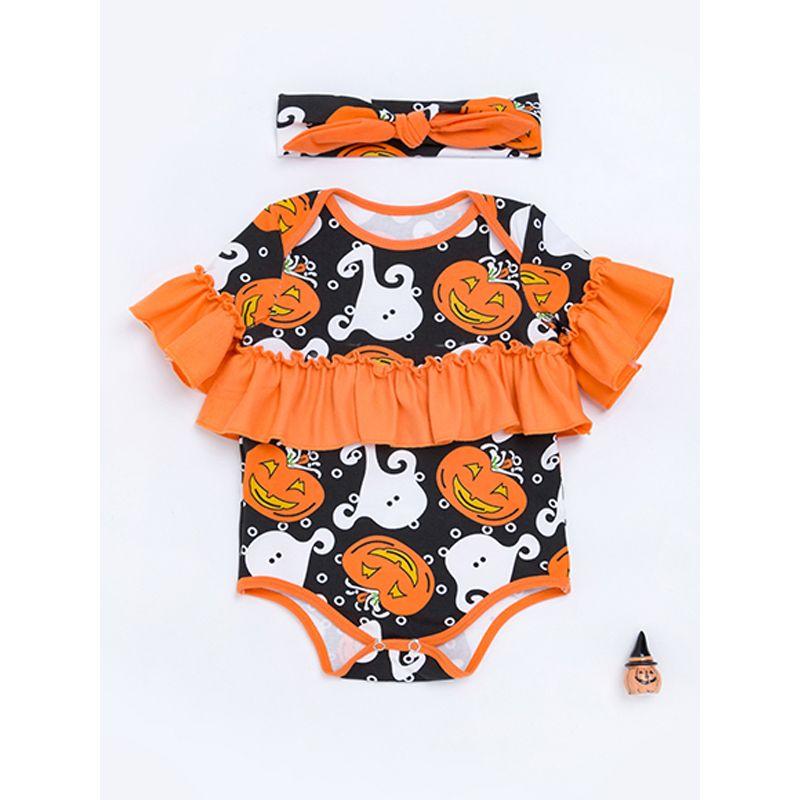 Halloween 2-piece Pumpkin Romper Headband Set Short-sleeve Jumpsuit Holiday Wear for Baby Boys Girls