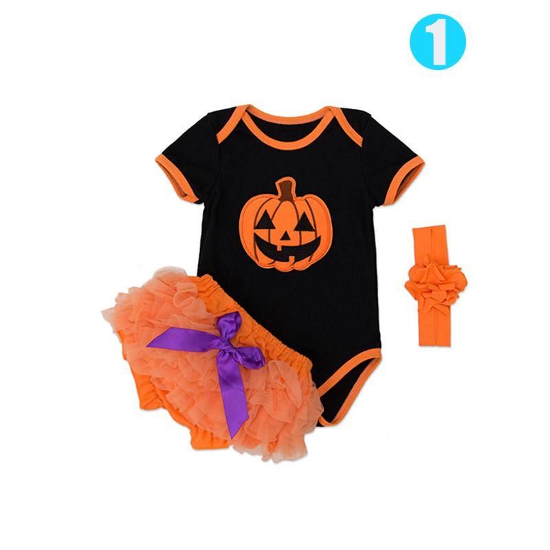 Halloween 3-piece Pumpkin Romper Tutu-Shorts Headband Shoes Set Short Sleeve Bodysuit for