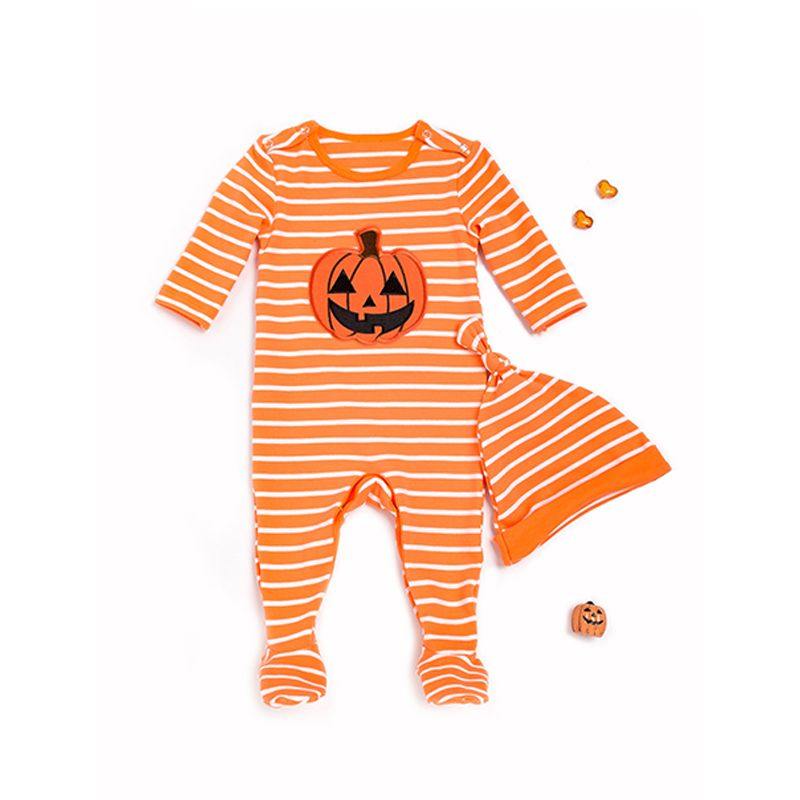 Halloween 2-piece Striped Smile Face  Pumpkin Romper Hat Set Long Sleeve Jumpsuit for Baby Boys Girls Holiday Wear