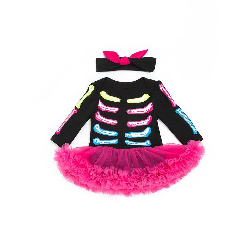 9d921380f25 Halloween 2-piece Skeleton Dress-like Romper Headband Set Long Sleeve  Bodysuit for Baby