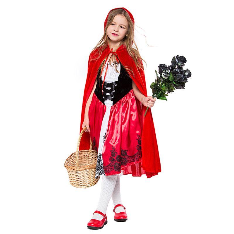 2-piece Cosplay Dress Cloak Set Little Red Riding Hood Cosplay Girls Performance Costume