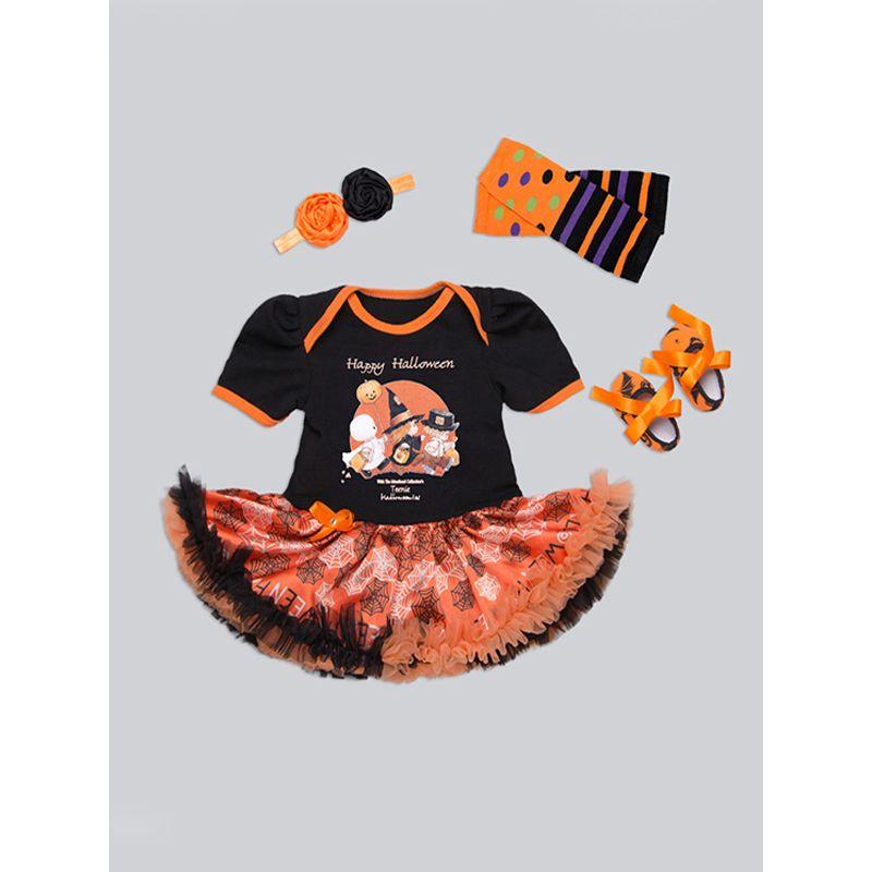 Halloween 4-piece Dress-like-Tutu-Romper Headband Shoes Leg Warmer Set Bodysuit Holiday Wear for Baby Girls