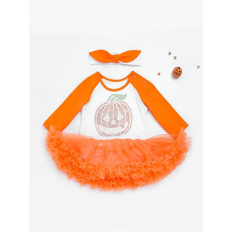 2-piece Halloween Headband Long Sleeves Romper Dress Baby Girls Set