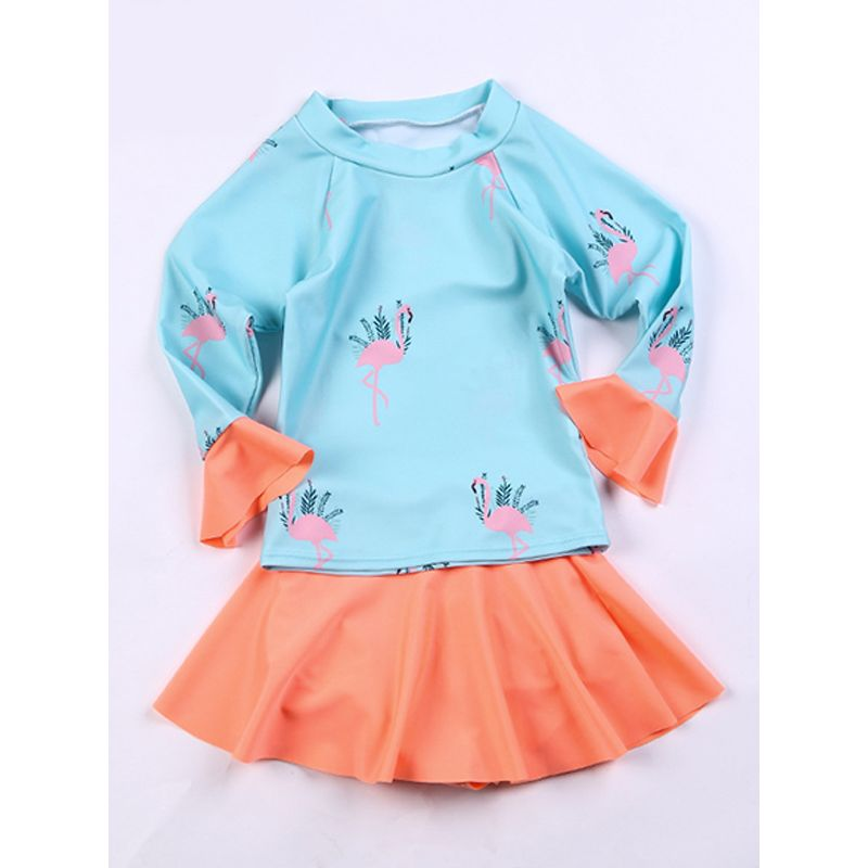 2-piece Flamingo Print Swimwear Set Long sleeve Top Ruffled Skirt Beach Pool HotSpring Wear for Toddlers Girls