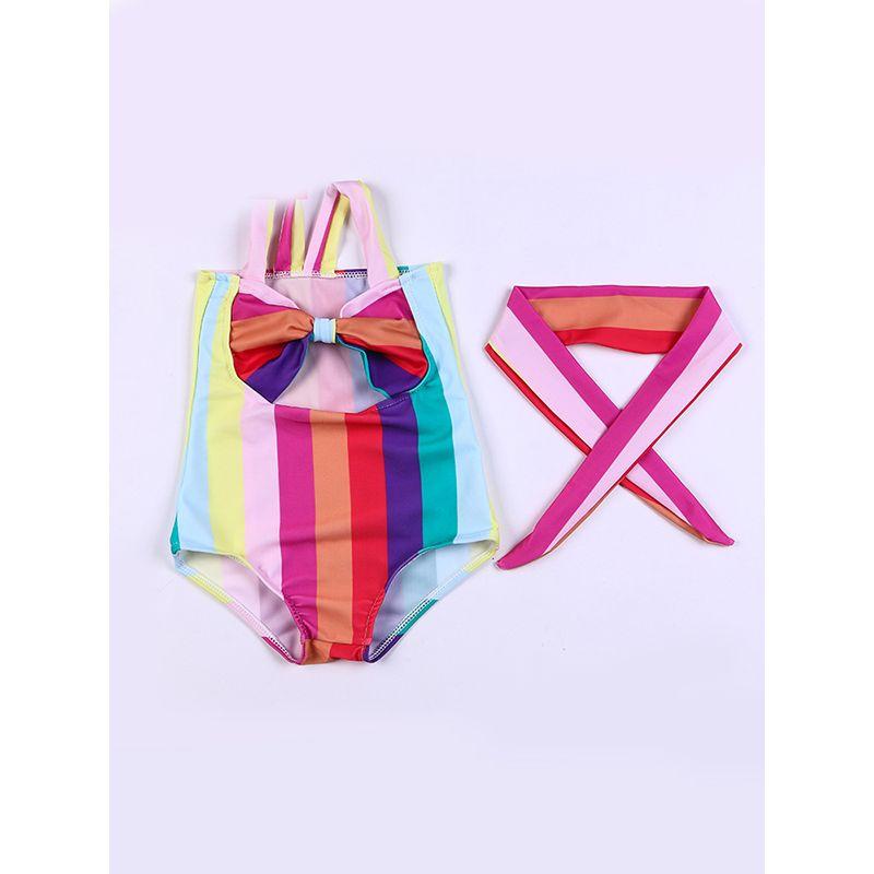 2-piece Cute Colorful Rainbows Print Strapped Swimwear Headband Set Sleeveless Beach Pool HotSpring Wear for Toddlers Girls