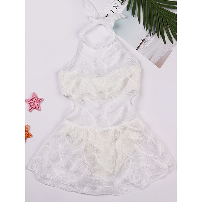 Pierced Lace Halterneck Dress-style Beach Wear Pool HotSpring Wear for Toddlers Girls