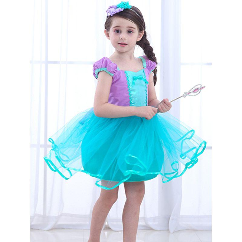 Halloween Mermaid Princess Dress Bowknot Splicing Cotton Girls Dress