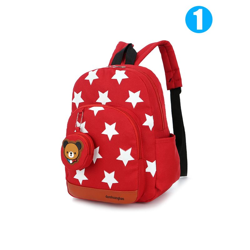 2-piece Cute Stars Backpack Wallet Set Portable Schoolbag Bear Purse Strapped Back to School for Girls Boys Kindergarten