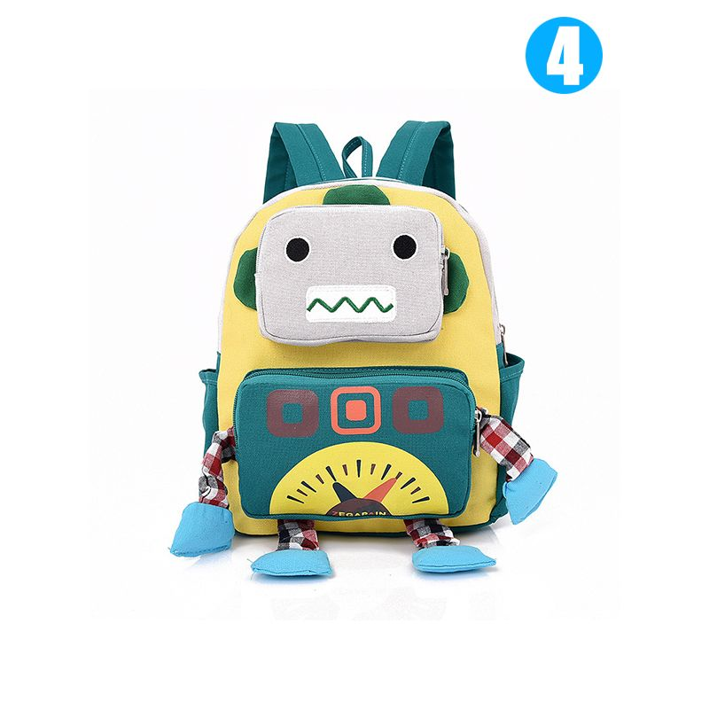 083ed138bb36 Cool Robot Schoolbag Canvas Backpack Back to School for Boys Kindergarten