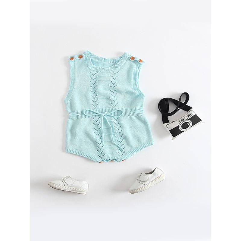 Nodic Style Knitted Woolen Sleeveless Baby Romper Bodysuit