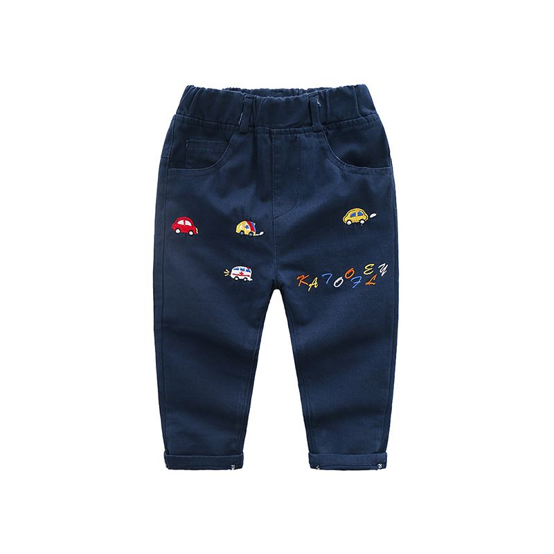 Cartoon Cars Embroidered Pants Trousers for Boys Elastic Waist Pockets
