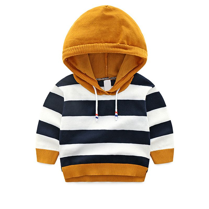 Color Block Striped Knitted Hoodie Sweater Long sleeve Top for Boys