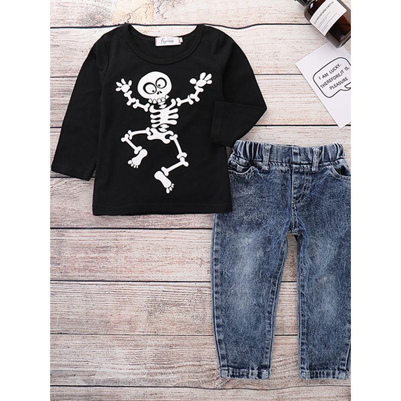 2-piece Halloween T-shirt Jeans Baby Boys Set Skeleton Print Black Top