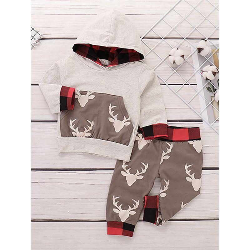 2-piece Beige Deer Head Print Hoodie Top Pants Baby Set