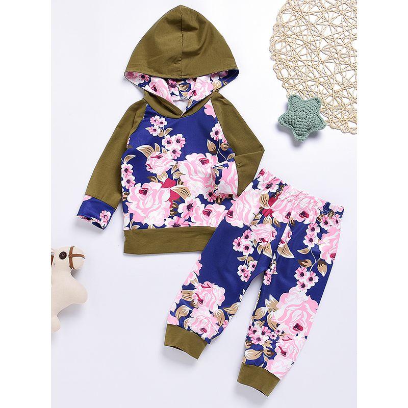 5711aa97ed87 Wholesale 2-piece Floral Print Hoodie Top Pants Baby