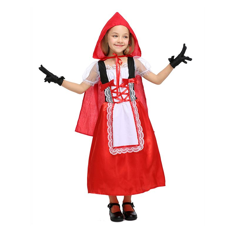 3-piece Red Cosplay Costume Set Dress Hooded Cloak Gloves Halloween Children's Day Play for Girls