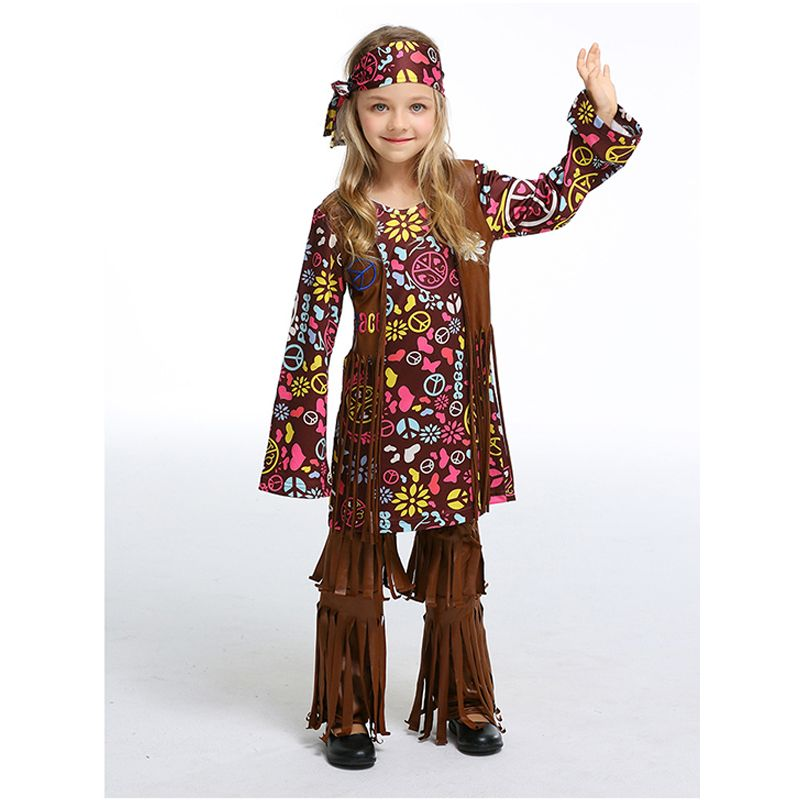 Mom and Me 3-piece Halloween Cosplay Bohemia Costume Set Headband Floral Dress Leg Warmers Party Children's' Day Play for Girls Adults