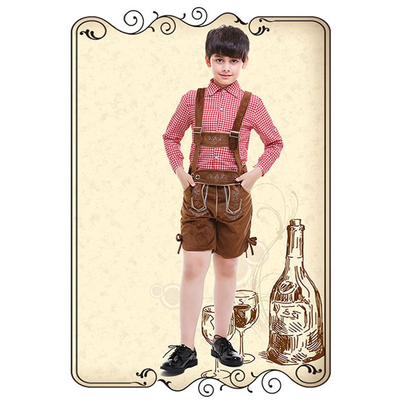 2-piece Cosplay Beer Festival Waiter Plaid Shirt Overalls Set Long sleeve Top Strapped Shorts Children's Day Play Costume for Boys