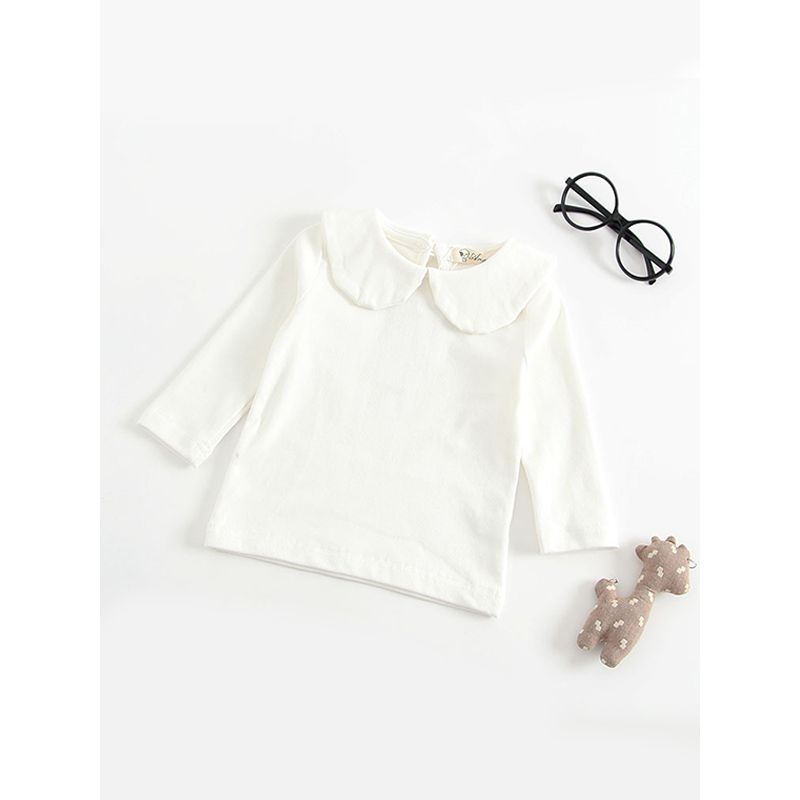 Solid Color Long Sleeves Turndown Collar Baby Girls T Shirt Undershirt