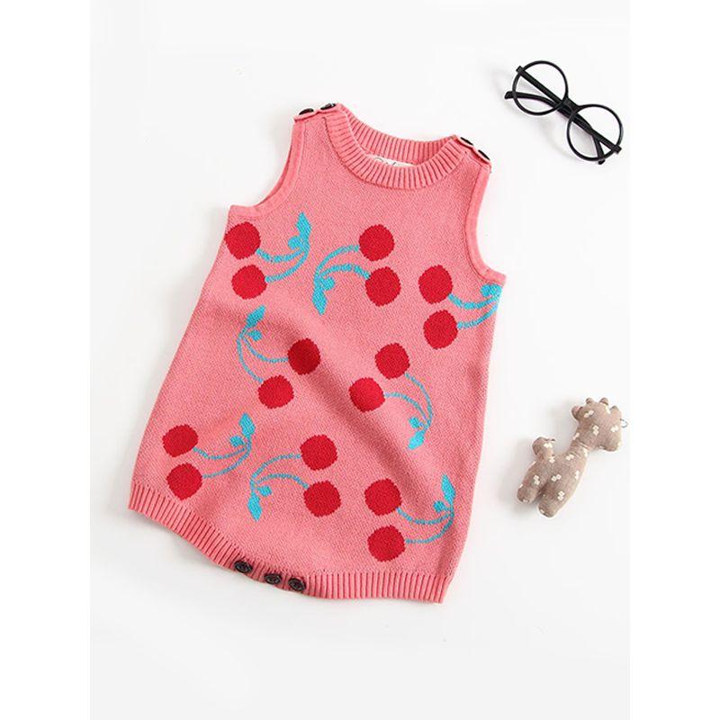 6340fa95bc49 Wholesale Cherry Print Knitted Jacquard Sleeveless Baby